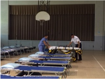 Sept 22-23, 2015 51st Civil Support Team Hazmat Exercise. ACS cots being set up in Alternate Care Site (ACS).